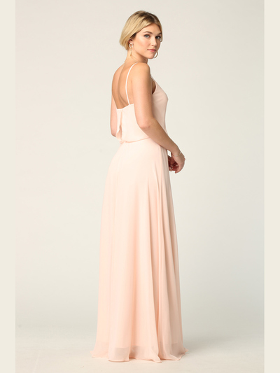 3318 Spaghetti Strap Blouson Top Bridesmaid Dress - Blush, Back View Medium
