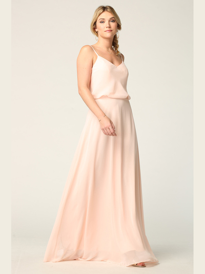 3318 Spaghetti Strap Blouson Top Bridesmaid Dress - Blush, Front View Medium