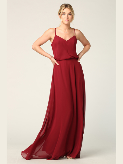 3318 Spaghetti Strap Blouson Top Bridesmaid Dress - Burgundy, Front View Medium