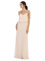 3318 Spaghetti Strap Blouson Top Bridesmaid Dress - Champagne, Front View Thumbnail