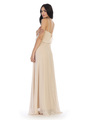 3318 Spaghetti Strap Blouson Top Bridesmaid Dress - Champagne, Back View Thumbnail