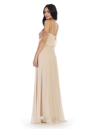 3318 Spaghetti Strap Blouson Top Bridesmaid Dress - Champagne, Back View Medium