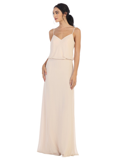 3318 Spaghetti Strap Blouson Top Bridesmaid Dress - Champagne, Front View Medium