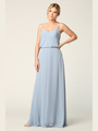 3318 Spaghetti Strap Blouson Top Bridesmaid Dress - Dusty Blue, Front View Thumbnail