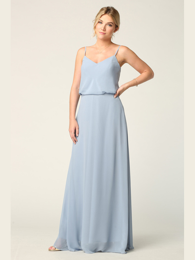 3318 Spaghetti Strap Blouson Top Bridesmaid Dress - Dusty Blue, Front View Medium