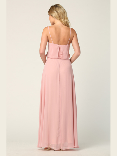 3318 Spaghetti Strap Blouson Top Bridesmaid Dress - Dusty Rose, Back View Medium