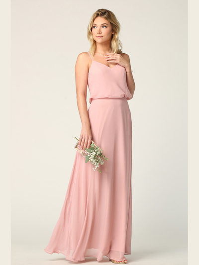 3318 Spaghetti Strap Blouson Top Bridesmaid Dress - Dusty Rose, Front View Medium