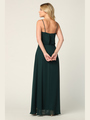 3318 Spaghetti Strap Blouson Top Bridesmaid Dress - Hunter Green, Back View Thumbnail