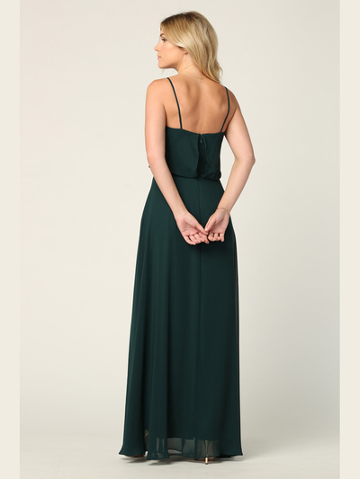 3318 Spaghetti Strap Blouson Top Bridesmaid Dress - Hunter Green, Back View Medium