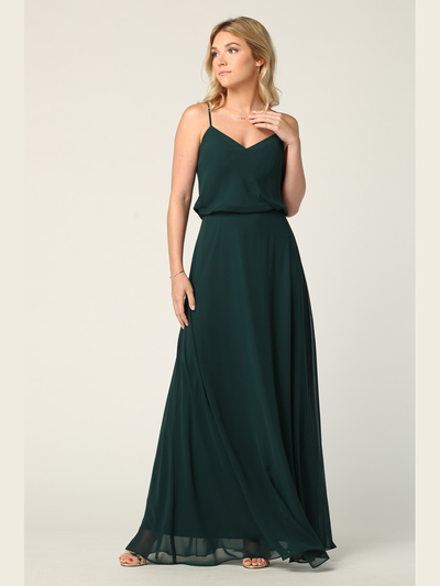 3318 Spaghetti Strap Blouson Top Bridesmaid Dress - Hunter Green, Front View Medium