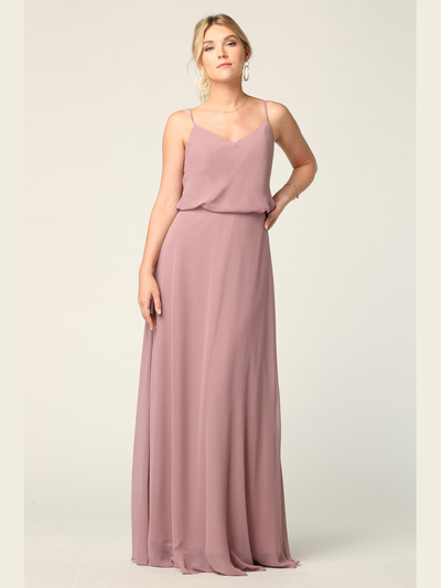 3318 Spaghetti Strap Blouson Top Bridesmaid Dress - Mauve, Back View Medium
