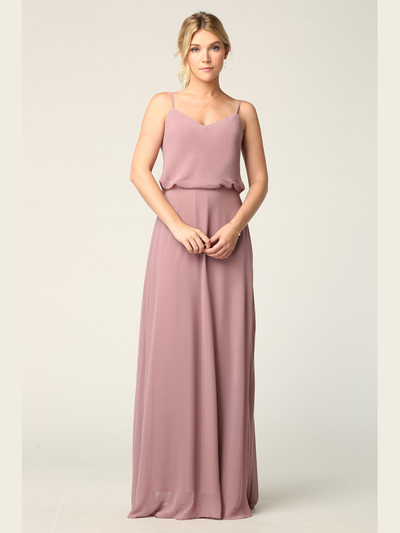 3318 Spaghetti Strap Blouson Top Bridesmaid Dress - Mauve, Front View Medium