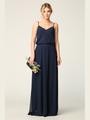 3318 Spaghetti Strap Blouson Top Bridesmaid Dress - Navy, Front View Thumbnail