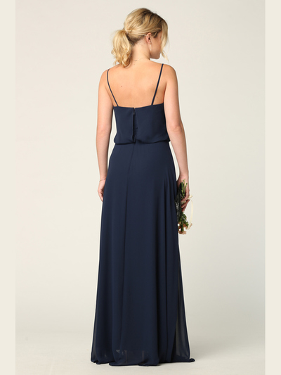 3318 Spaghetti Strap Blouson Top Bridesmaid Dress - Navy, Back View Medium