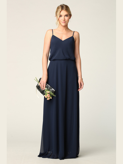 3318 Spaghetti Strap Blouson Top Bridesmaid Dress - Navy, Front View Medium