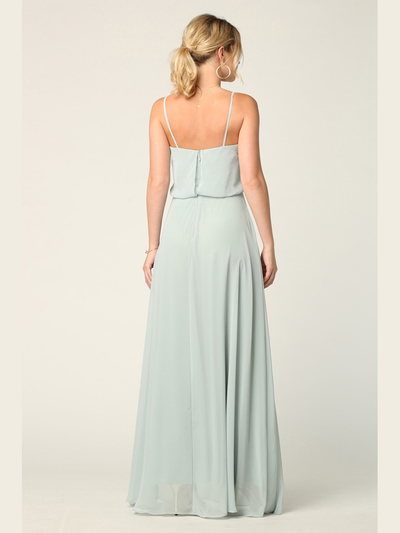 3318 Spaghetti Strap Blouson Top Bridesmaid Dress - Sage, Back View Medium