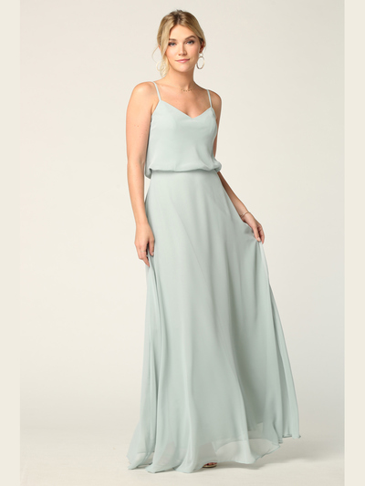 3318 Spaghetti Strap Blouson Top Bridesmaid Dress - Sage, Front View Medium