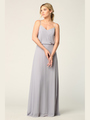 3318 Spaghetti Strap Blouson Top Bridesmaid Dress - Silver, Front View Thumbnail