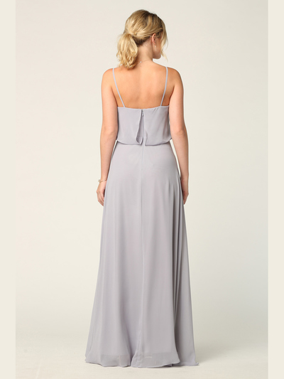 3318 Spaghetti Strap Blouson Top Bridesmaid Dress - Silver, Back View Medium