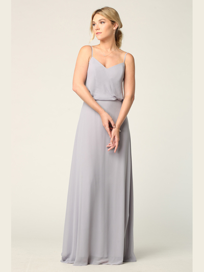 3318 Spaghetti Strap Blouson Top Bridesmaid Dress - Silver, Front View Medium