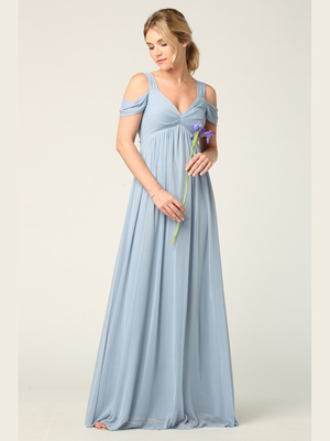 3321 Empire Waist Off Shoulder Evening Dress, Dusty Blue