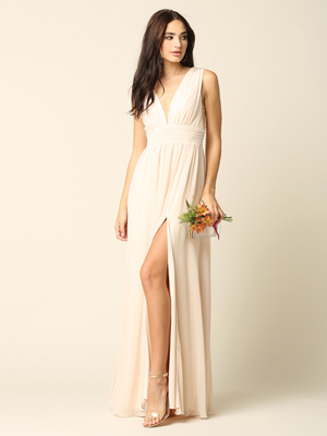 3329 V-neck Front And Back Long Evening Dress, Champagne