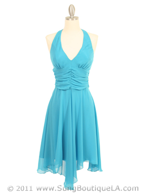 3329 Turquoise Halter Top Chiffon Cocktail Dress, Turquoise