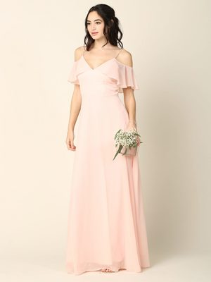 3331 Flutter Cold Shoulder Long Evening Dress, Blush