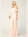 3333 Blouson Top With Cold Shoulder Evening Dress - Blush, Front View Thumbnail