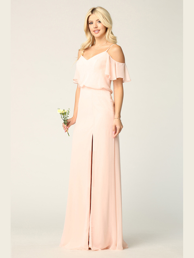 3333 Blouson Top With Cold Shoulder Evening Dress - Blush, Front View Medium
