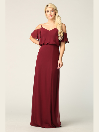 3333 Blouson Top With Cold Shoulder Evening Dress - Burgundy, Front View Medium