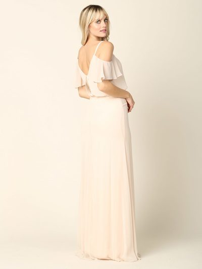 3333 Blouson Top With Cold Shoulder Evening Dress - Champagne, Back View Medium