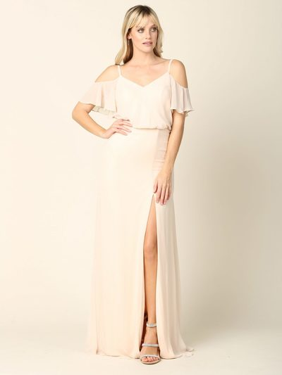 3333 Blouson Top With Cold Shoulder Evening Dress - Champagne, Front View Medium