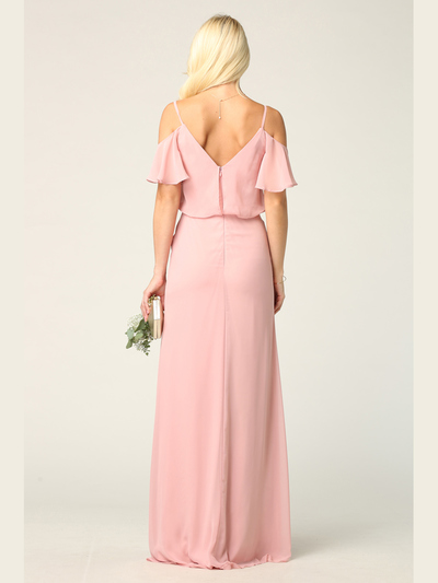 3333 Blouson Top With Cold Shoulder Evening Dress - Dusty Rose, Back View Medium