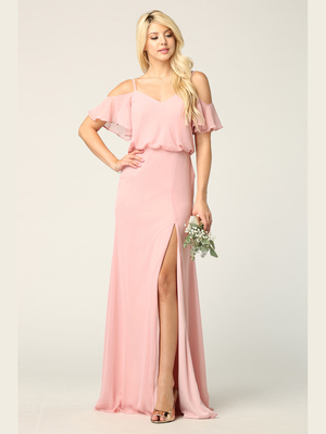 3333 Blouson Top With Cold Shoulder Evening Dress, Dusty Rose