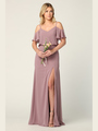 3333 Blouson Top With Cold Shoulder Evening Dress - Mauve, Front View Thumbnail