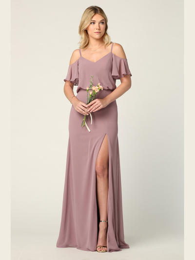 3333 Blouson Top With Cold Shoulder Evening Dress - Mauve, Front View Medium
