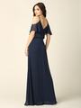 3333 Blouson Top With Cold Shoulder Evening Dress - Navy, Back View Thumbnail