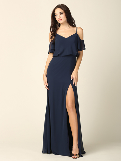 3333 Blouson Top With Cold Shoulder Evening Dress - Navy, Front View Medium