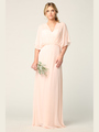 3338 Draped Sleeve Chiffon Evening Dress - Blush, Front View Thumbnail