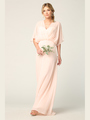 3338 Draped Sleeve Chiffon Evening Dress - Blush, Back View Thumbnail