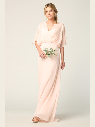 3338 Draped Sleeve Chiffon Evening Dress - Blush, Back View Medium