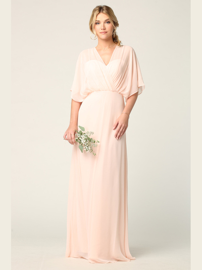 3338 Draped Sleeve Chiffon Evening Dress - Blush, Front View Medium