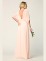 3338 Draped Sleeve Chiffon Evening Dress - Blush, Alt View Thumbnail