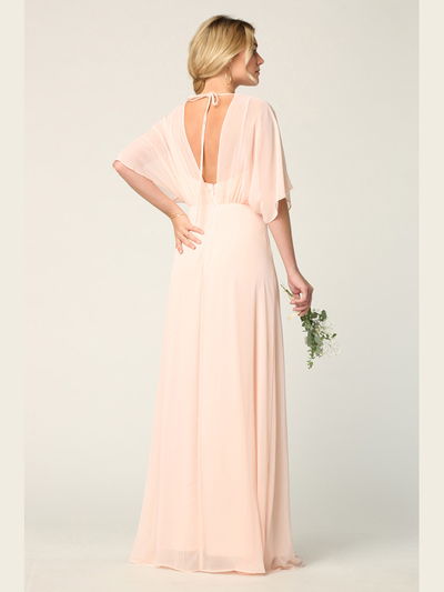 3338 Draped Sleeve Chiffon Evening Dress - Blush, Alt View Medium
