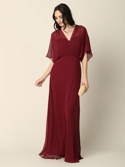 3338 Draped Sleeve Chiffon Evening Dress - Burgundy, Front View Medium