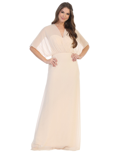 3338 Draped Sleeve Chiffon Evening Dress - Champagne, Front View Medium