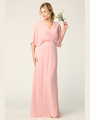 3338 Draped Sleeve Chiffon Evening Dress - Dusty Rose, Front View Thumbnail