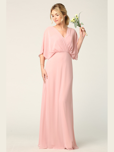 3338 Draped Sleeve Chiffon Evening Dress - Dusty Rose, Front View Medium