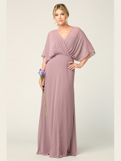 3338 Draped Sleeve Chiffon Evening Dress - Mauve, Front View Medium